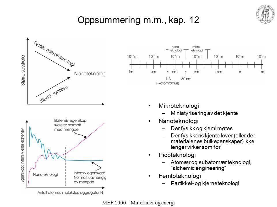 MEF 1000 – Materialer og energi Oppsummering m.m., kap.