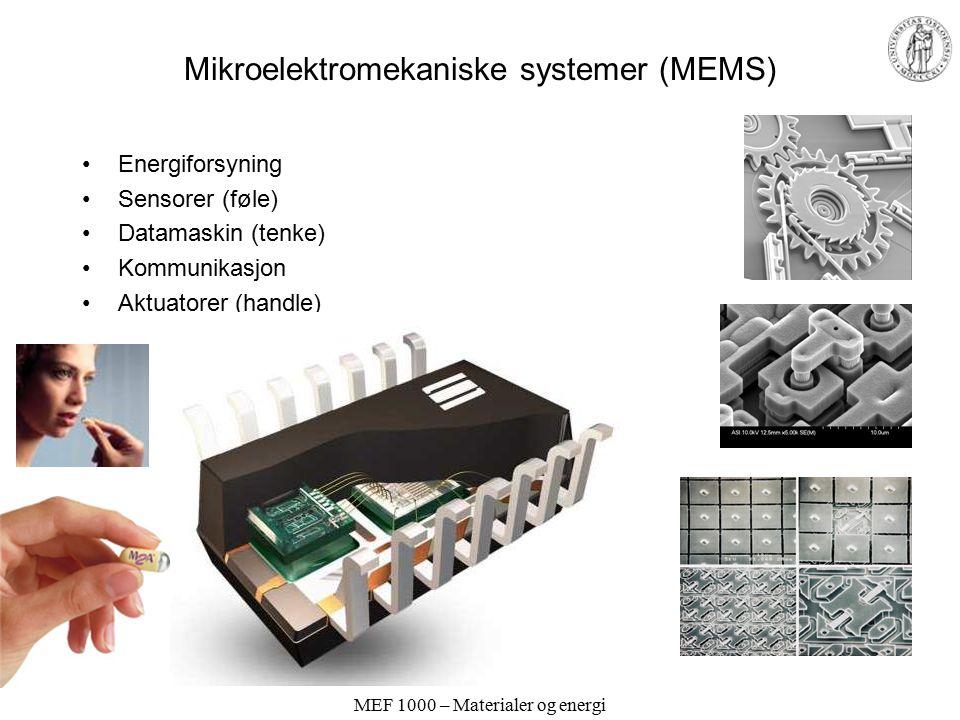 MEF 1000 – Materialer og energi Mikroelektromekaniske systemer (MEMS) Energiforsyning Sensorer (føle) Datamaskin (tenke) Kommunikasjon Aktuatorer (handle)