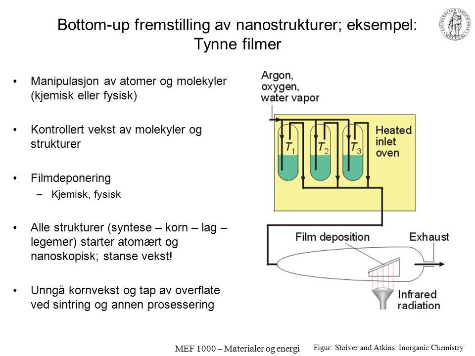 MEF 1000 – Materialer og energi Bottom-up fremstilling av nanostrukturer; eksempel: Tynne filmer Manipulasjon av atomer og molekyler (kjemisk eller fysisk) Kontrollert vekst av molekyler og strukturer Filmdeponering –Kjemisk, fysisk Alle strukturer (syntese – korn – lag – legemer) starter atomært og nanoskopisk; stanse vekst.