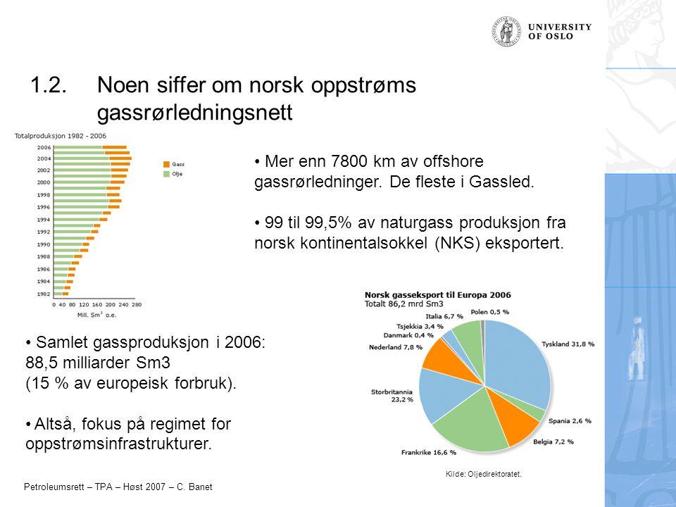 Petroleumsrett – TPA – Høst 2007 – C. Banet 1.2.Noen siffer om norsk oppstrøms gassrørledningsnett Mer enn 7800 km av offshore gassrørledninger. De fl