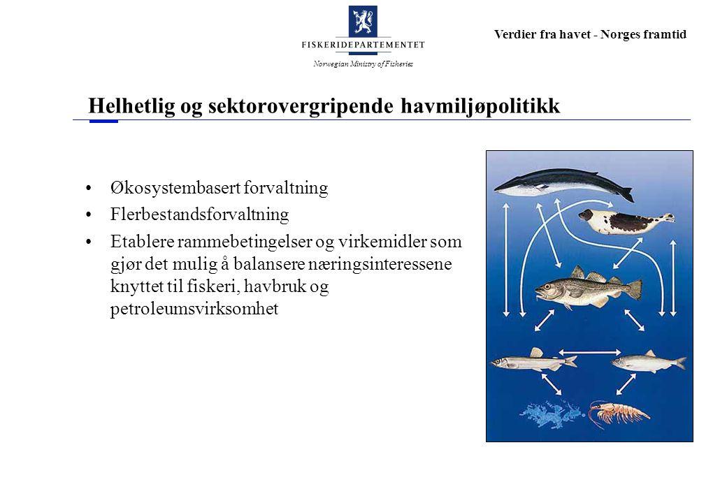 Norwegian Ministry of Fisheries Verdier fra havet - Norges framtid Helhetlig og sektorovergripende havmiljøpolitikk Økosystembasert forvaltning Flerbe
