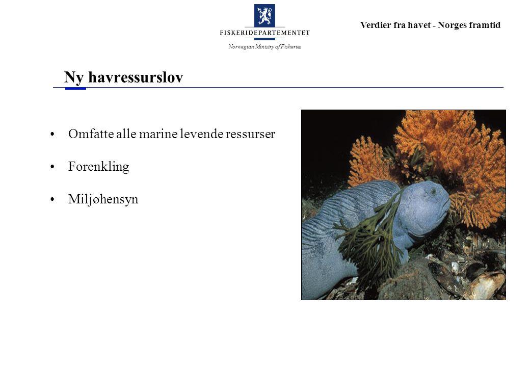 Norwegian Ministry of Fisheries Verdier fra havet - Norges framtid Ny havressurslov Omfatte alle marine levende ressurser Forenkling Miljøhensyn