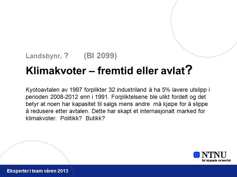 Eksperter i team våren 2013 Landsbynr. (BI 2099) Klimakvoter – fremtid eller avlat .