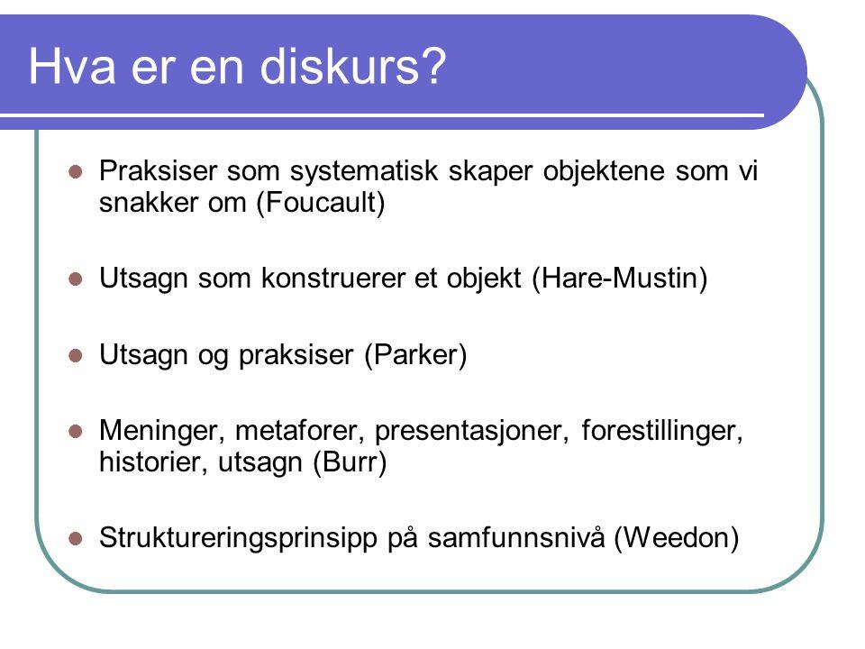 Hva er en diskurs? Praksiser som systematisk skaper objektene som vi snakker om (Foucault) Utsagn som konstruerer et objekt (Hare-Mustin) Utsagn og pr