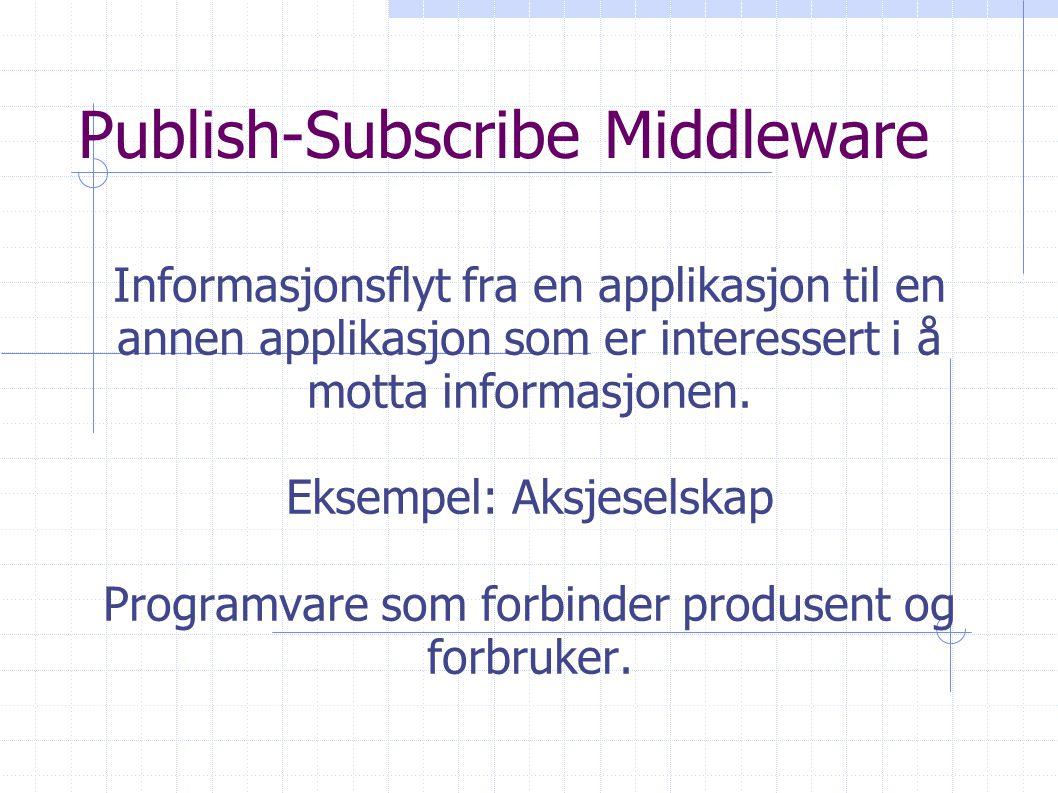 Publish-Subscribe Middleware Informasjonsflyt fra en applikasjon til en annen applikasjon som er interessert i å motta informasjonen.