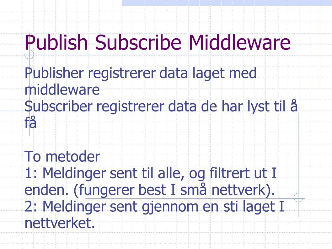 Publish Subscribe Middleware Publisher registrerer data laget med middleware Subscriber registrerer data de har lyst til å få To metoder 1: Meldinger sent til alle, og filtrert ut I enden.