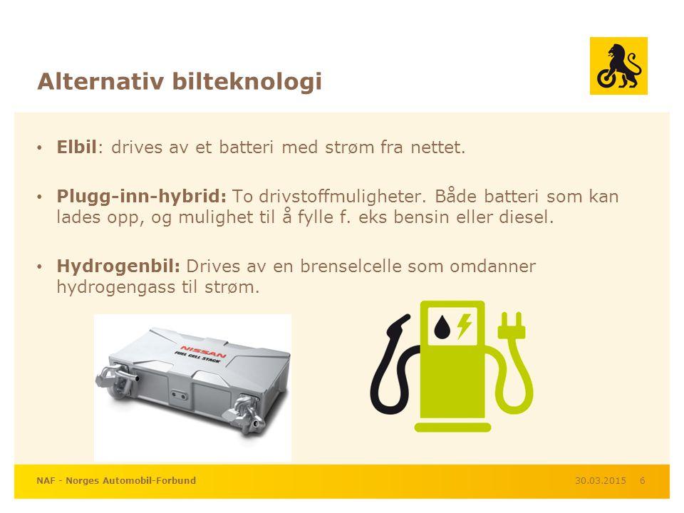 Alternativ bilteknologi Elbil: drives av et batteri med strøm fra nettet.