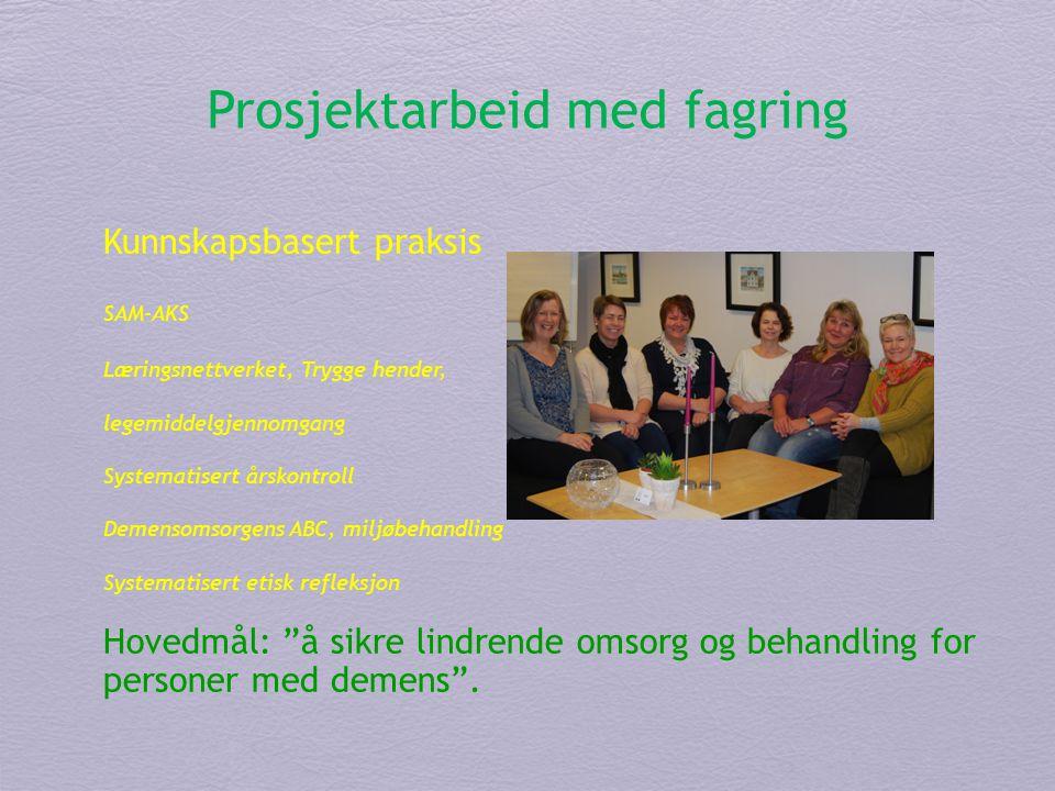 Prosjektarbeid med fagring Kunnskapsbasert praksis SAM-AKS Læringsnettverket, Trygge hender, legemiddelgjennomgang Systematisert årskontroll Demensoms