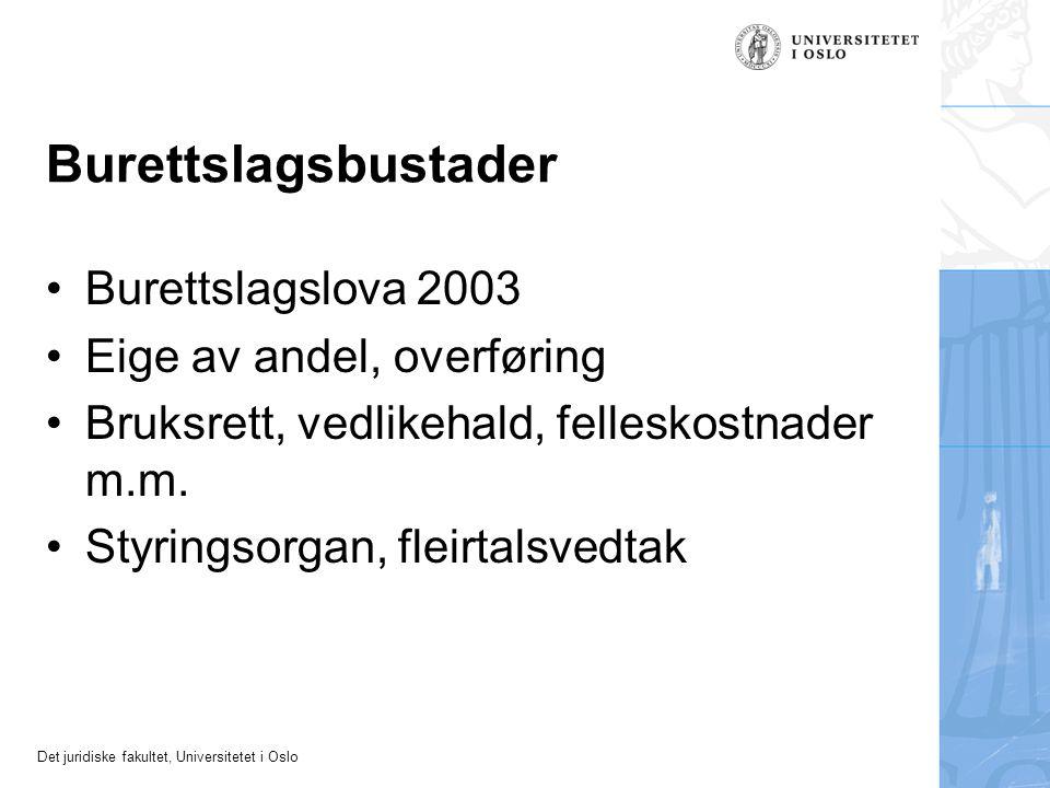 Det juridiske fakultet, Universitetet i Oslo Burettslagsbustader Burettslagslova 2003 Eige av andel, overføring Bruksrett, vedlikehald, felleskostnader m.m.