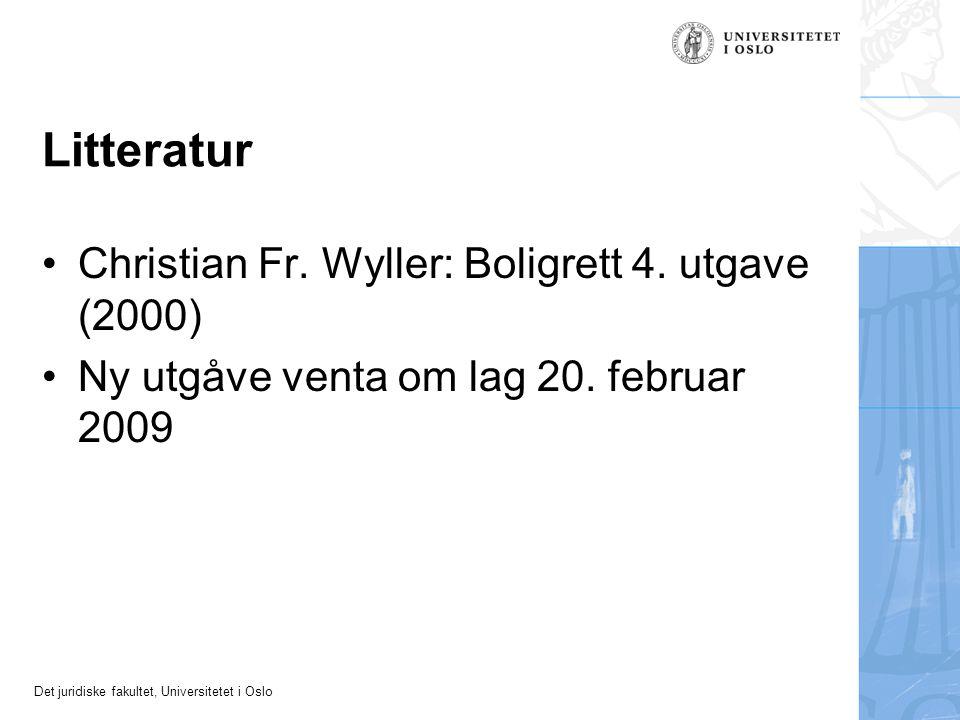 Det juridiske fakultet, Universitetet i Oslo Litteratur Christian Fr.