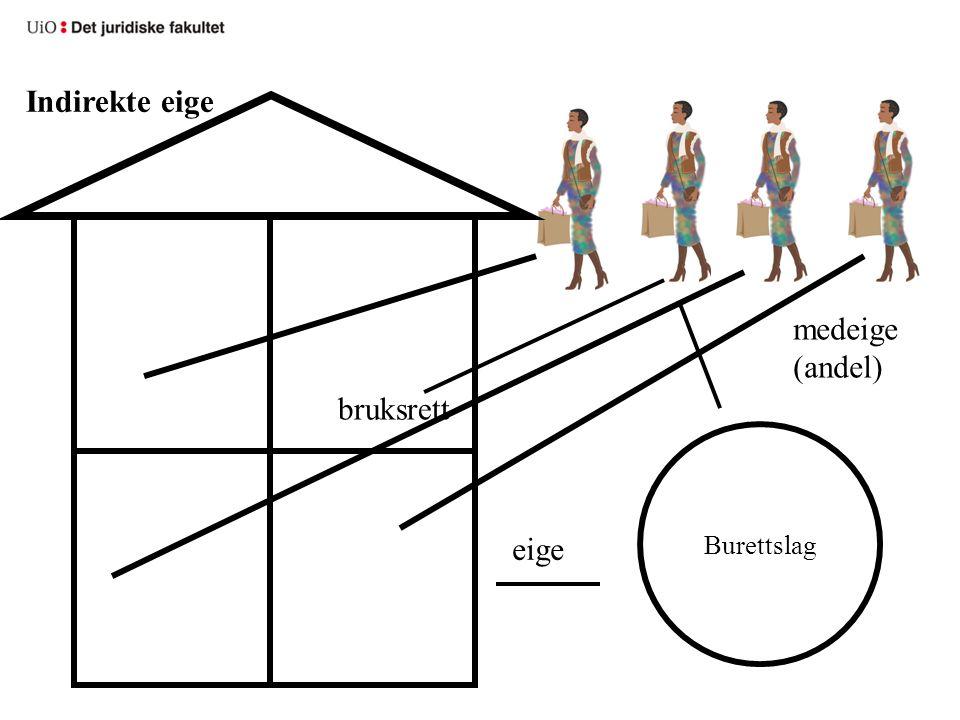 Burettslag eige medeige (andel) bruksrett Indirekte eige