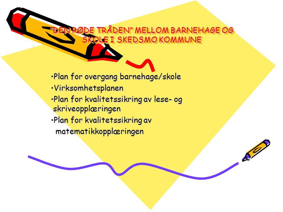 DEN RØDE TRÅDEN MELLOM BARNEHAGE OG SKOLE I SKEDSMO KOMMUNE Plan for overgang barnehage/skolePlan for overgang barnehage/skole VirksomhetsplanenVirksomhetsplanen Plan for kvalitetssikring av lese- og skriveopplæringenPlan for kvalitetssikring av lese- og skriveopplæringen Plan for kvalitetssikring avPlan for kvalitetssikring av matematikkopplæringen matematikkopplæringen