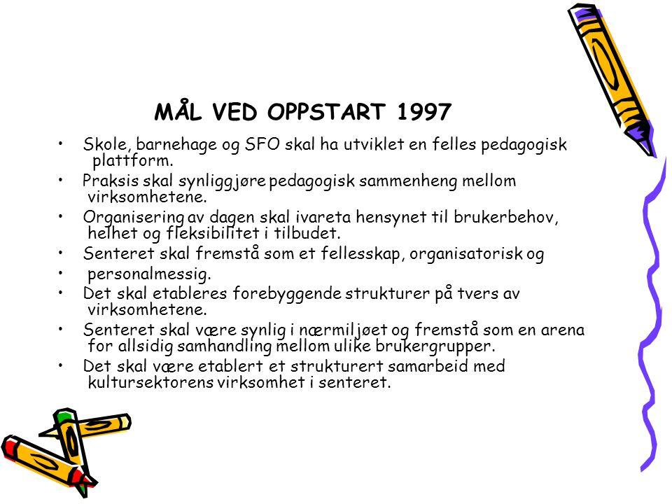 MÅL VED OPPSTART 1997 Skole, barnehage og SFO skal ha utviklet en felles pedagogisk plattform.