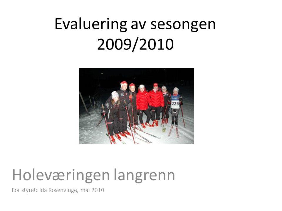 Evaluering av sesongen 2009/2010 Holeværingen langrenn For styret: Ida Rosenvinge, mai 2010