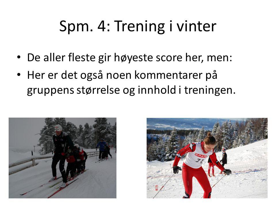 Spm. 4: Trening i vinter De aller fleste gir høyeste score her, men: Her er det også noen kommentarer på gruppens størrelse og innhold i treningen.