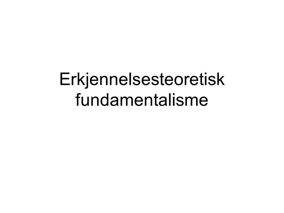 Erkjennelsesteoretisk fundamentalisme