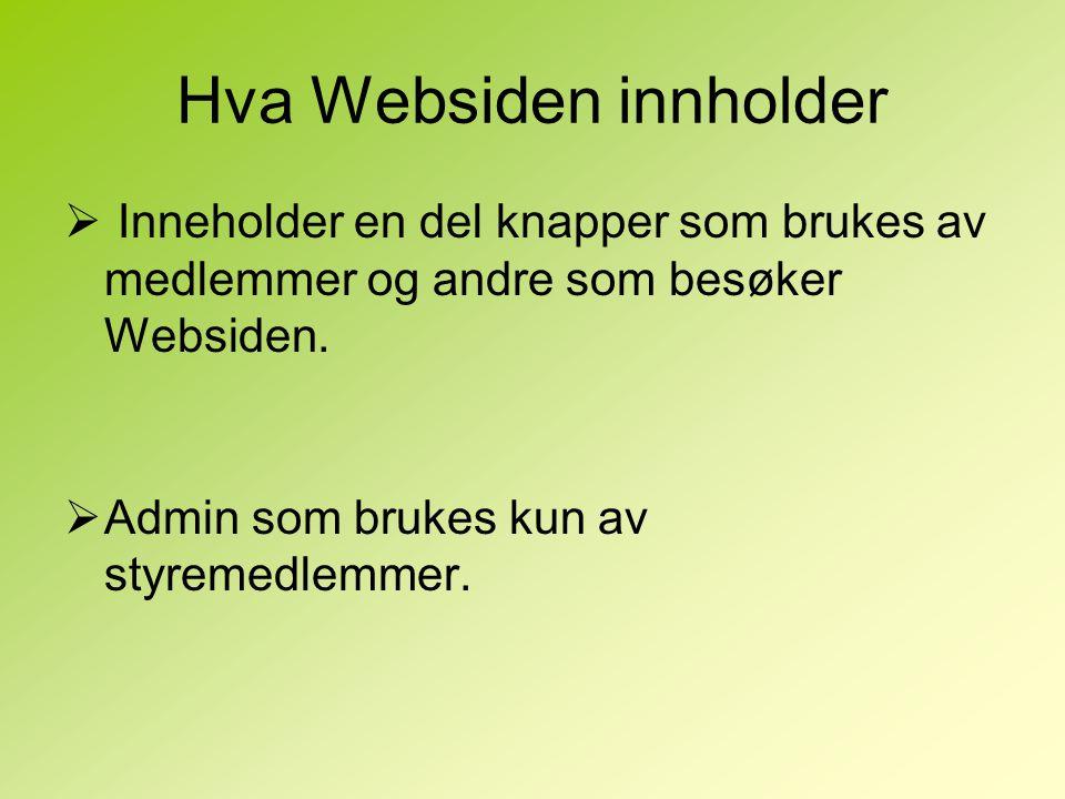 Hva Websiden innholder  Inneholder en del knapper som brukes av medlemmer og andre som besøker Websiden.  Admin som brukes kun av styremedlemmer.