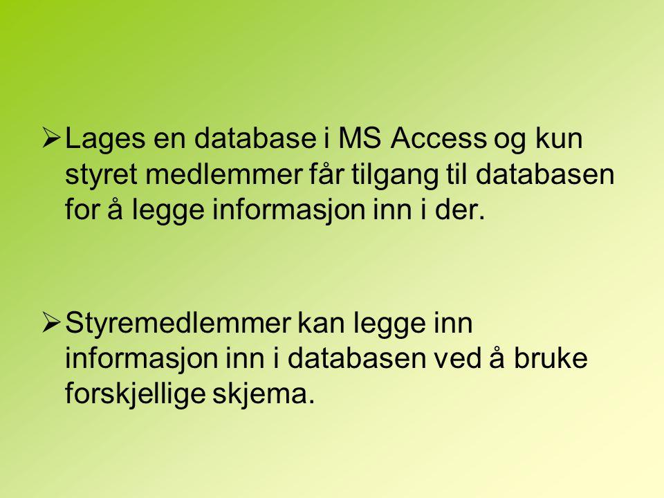  Lages en database i MS Access og kun styret medlemmer får tilgang til databasen for å legge informasjon inn i der.  Styremedlemmer kan legge inn in