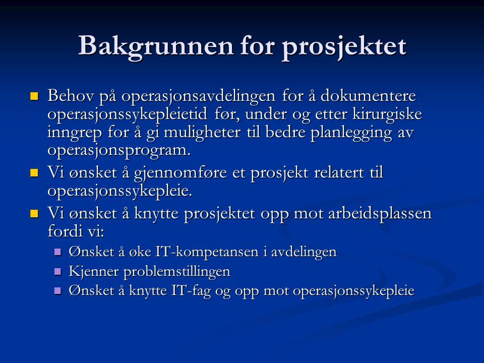 Bakgrunnen for prosjektet Behov på operasjonsavdelingen for å dokumentere operasjonssykepleietid før, under og etter kirurgiske inngrep for å gi mulig