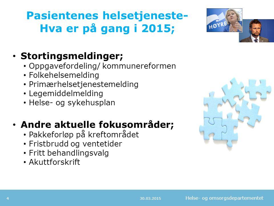 Helse- og omsorgsdepartementet Pasientenes helsetjeneste- Hva er på gang i 2015; 30.03.20154 Stortingsmeldinger; Oppgavefordeling/ kommunereformen Fol