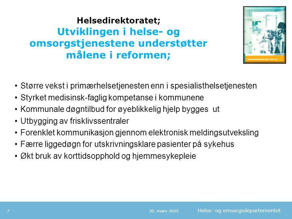 Helse- og omsorgsdepartementet Helsedirektoratet; Men vi har en rekke utfordringer; 30.