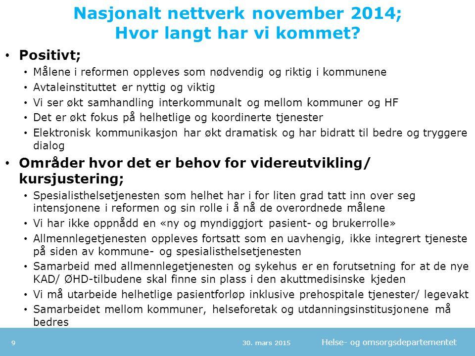 Helse- og omsorgsdepartementet Nasjonalt nettverk november 2014; Hvor langt har vi kommet? 30. mars 20159 Positivt; Målene i reformen oppleves som nød