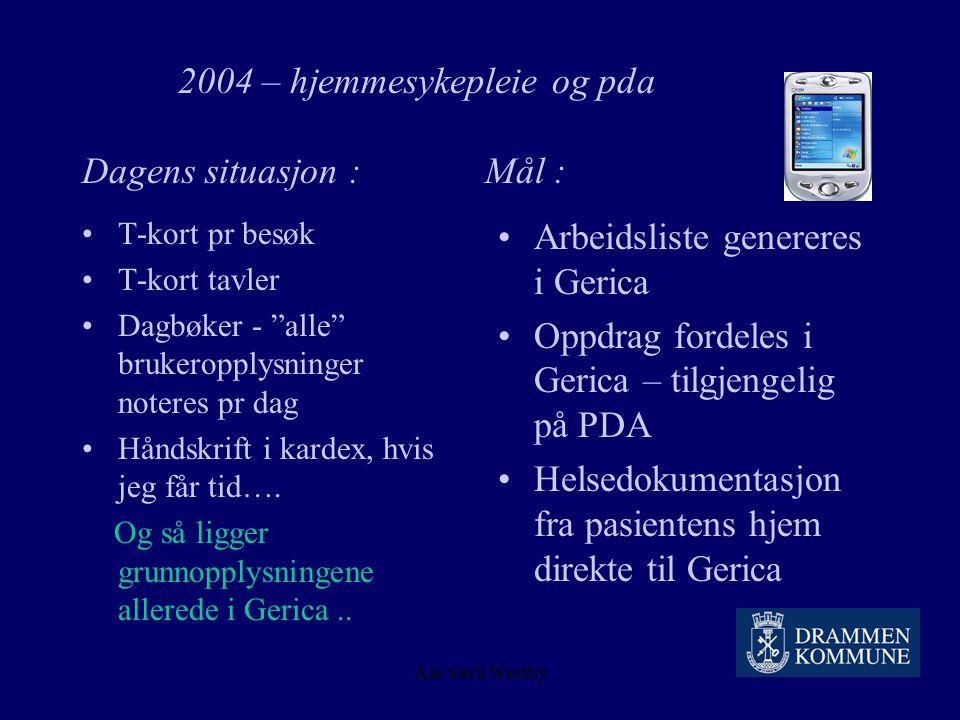 Åse Sørli Westby 2004 – hjemmesykepleie og pda Vurdering : Kan PDA være et effektivt verktøy for å overholde de krav som stilles til dokumentasjon av