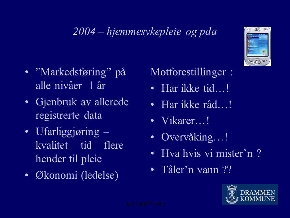 Åse Sørli Westby 2004 – hjemmesykepleie og pda Telenorfond prosjektstøtte Mobile Data Acsess (MDA) – sikker kommunikasjon TCP-IP - GPRS PDA – Qtek 202