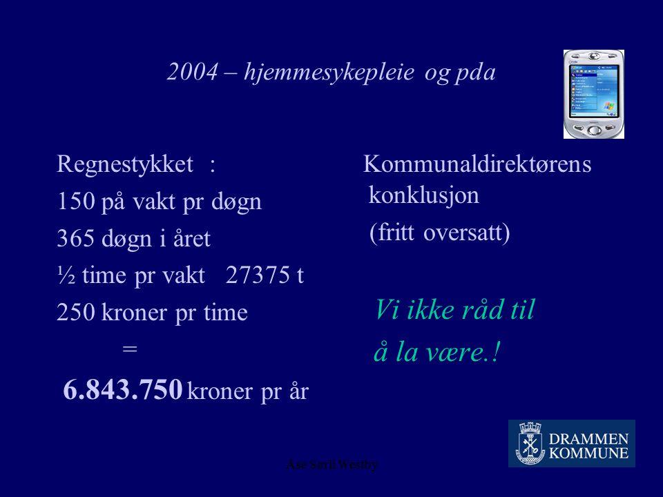 """Åse Sørli Westby 2004 – hjemmesykepleie og pda """"Markedsføring"""" på alle nivåer 1 år Gjenbruk av allerede registrerte data Ufarliggjøring – kvalitet – t"""