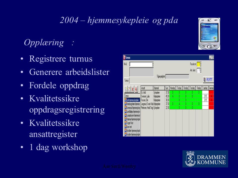 Åse Sørli Westby 2004 – hjemmesykepleie og pda Regnestykket : 150 på vakt pr døgn 365 døgn i året ½ time pr vakt 27375 t 250 kroner pr time = 6.843.75