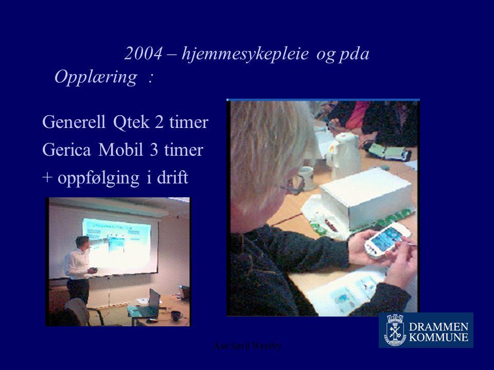 Åse Sørli Westby 2004 – hjemmesykepleie og pda Opplæring: Registrere turnus Generere arbeidslister Fordele oppdrag Kvalitetssikre oppdragsregistrering