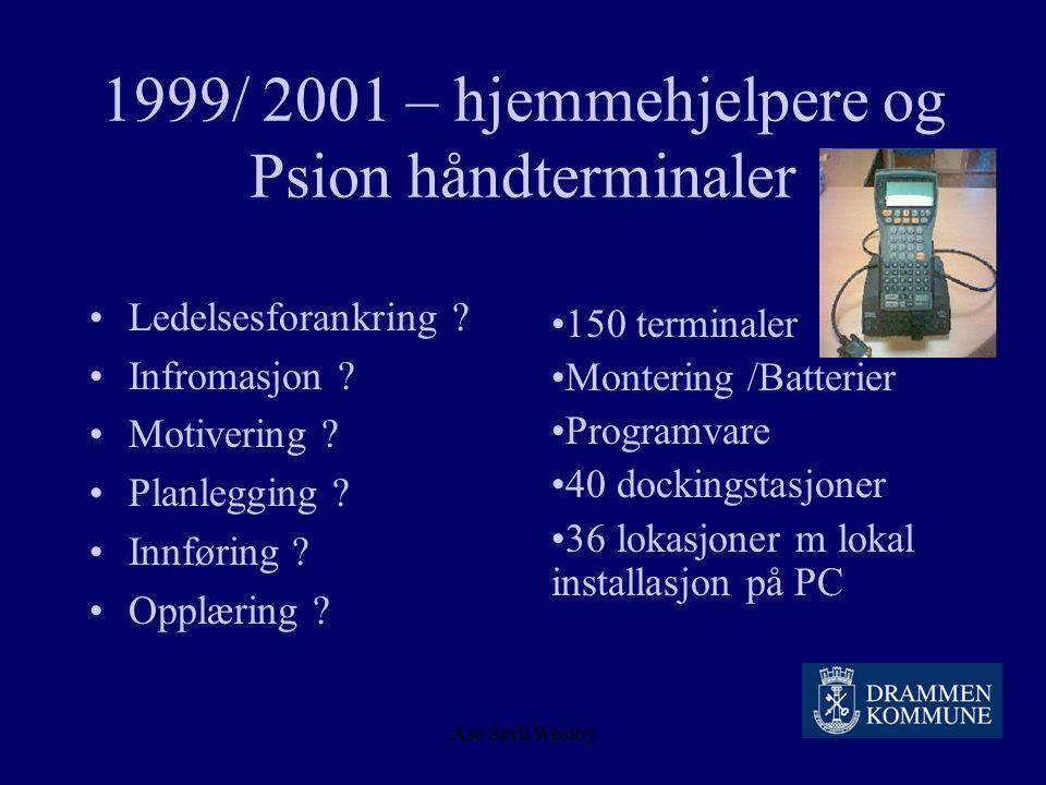 Åse Sørli Westby Status i PLO 11.09.04 : 1099 innbyggere får hjemmesykepleie Utfordring : Alt helsearbeid skal dokumenteres Driften skal rasjonalisere