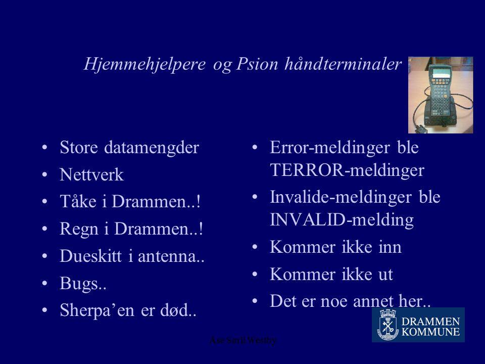 Åse Sørli Westby 1999/ 2001 – hjemmehjelpere og Psion håndterminaler Ledelsesforankring ? Infromasjon ? Motivering ? Planlegging ? Innføring ? Opplæri