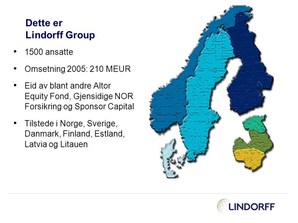 Dette er Lindorff Group 1500 ansatte Omsetning 2005: 210 MEUR Eid av blant andre Altor Equity Fond, Gjensidige NOR Forsikring og Sponsor Capital Tilst
