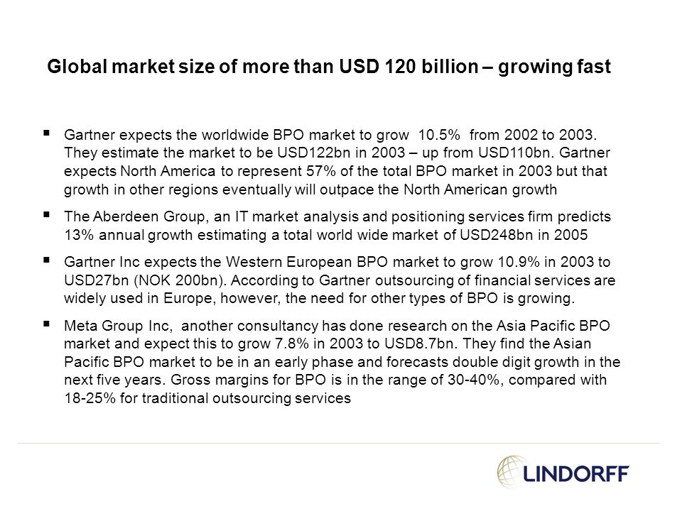 Global market size of more than USD 120 billion – growing fast  Gartner expects the worldwide BPO market to grow 10.5% from 2002 to 2003. They estima