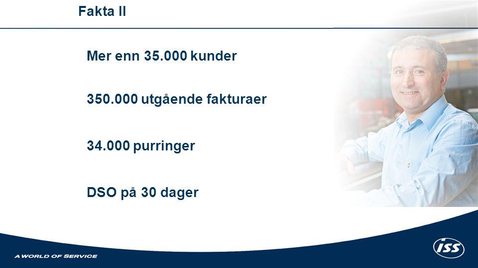 Mer enn 35.000 kunder 350.000 utgående fakturaer 34.000 purringer DSO på 30 dager Fakta II