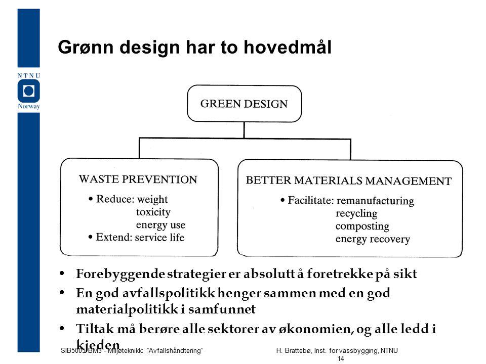 """SIB5005 BM3 - Miljøteknikk: """"Avfallshåndtering""""H. Brattebø, Inst. for vassbygging, NTNU 14 Grønn design har to hovedmål Forebyggende strategier er abs"""