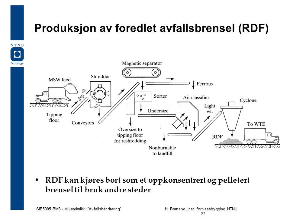 """SIB5005 BM3 - Miljøteknikk: """"Avfallshåndtering""""H. Brattebø, Inst. for vassbygging, NTNU 22 Produksjon av foredlet avfallsbrensel (RDF) RDF kan kjøres"""