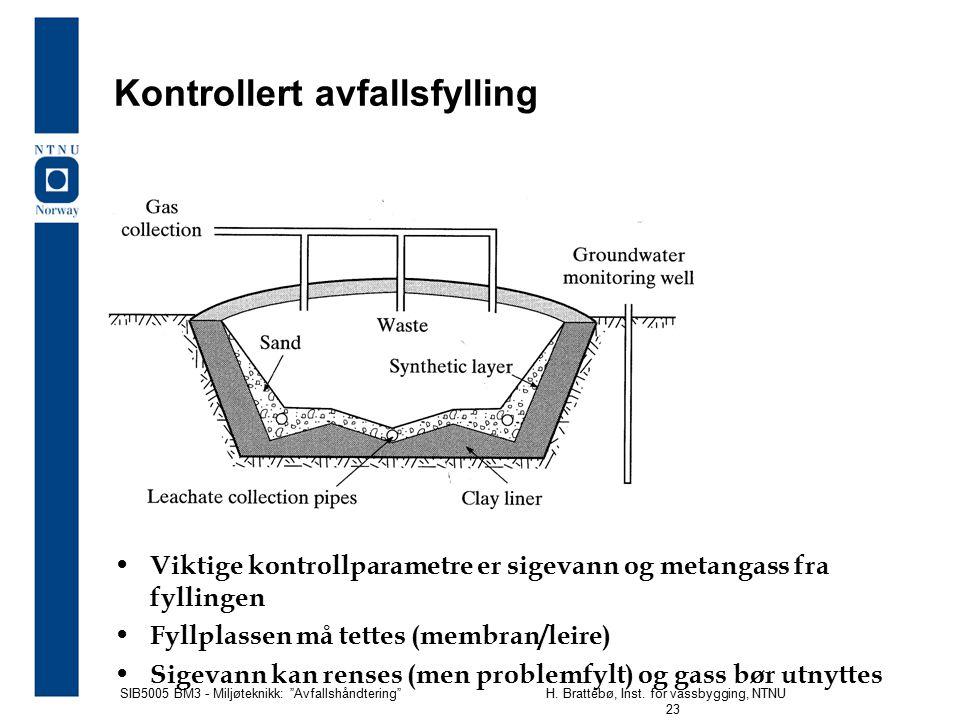 """SIB5005 BM3 - Miljøteknikk: """"Avfallshåndtering""""H. Brattebø, Inst. for vassbygging, NTNU 23 Kontrollert avfallsfylling Viktige kontrollparametre er sig"""