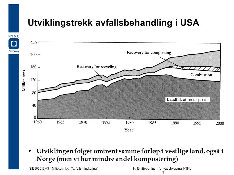 """SIB5005 BM3 - Miljøteknikk: """"Avfallshåndtering""""H. Brattebø, Inst. for vassbygging, NTNU 9 Utviklingstrekk avfallsbehandling i USA Utviklingen følger o"""