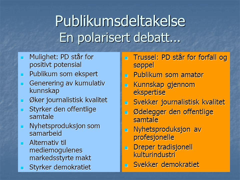 Publikumsdeltakelse En polarisert debatt...
