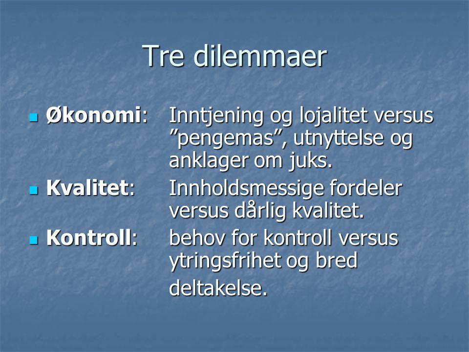 Tre dilemmaer Økonomi: Inntjening og lojalitet versus pengemas , utnyttelse og anklager om juks.