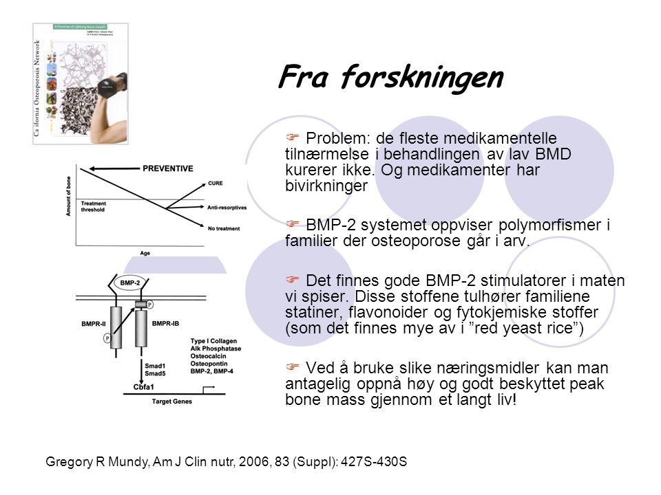 Fra forskningen  Problem: de fleste medikamentelle tilnærmelse i behandlingen av lav BMD kurerer ikke. Og medikamenter har bivirkninger  BMP-2 syste