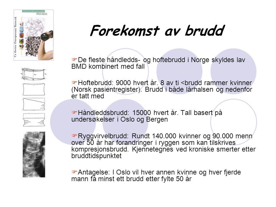 Forekomst av brudd  De fleste håndledds- og hoftebrudd i Norge skyldes lav BMD kombinert med fall  Hoftebrudd: 9000 hvert år. 8 av ti <brudd rammer