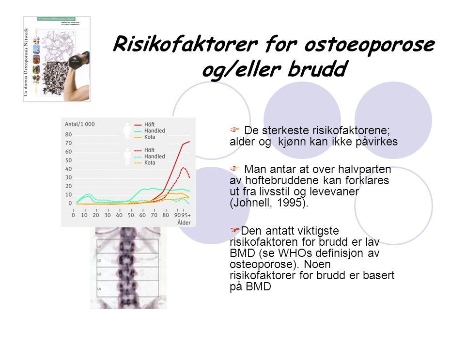 Risikofaktorer for ostoeoporose og/eller brudd  De sterkeste risikofaktorene; alder og kjønn kan ikke påvirkes  Man antar at over halvparten av hoft