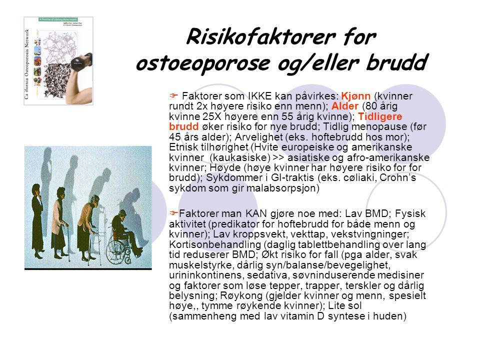 Risikofaktorer for ostoeoporose og/eller brudd  Faktorer som IKKE kan påvirkes: Kjønn (kvinner rundt 2x høyere risiko enn menn); Alder (80 årig kvinn