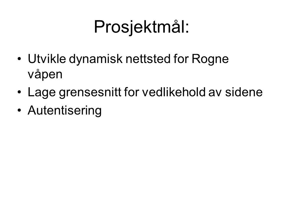 Prosjektmål: Utvikle dynamisk nettsted for Rogne våpen Lage grensesnitt for vedlikehold av sidene Autentisering