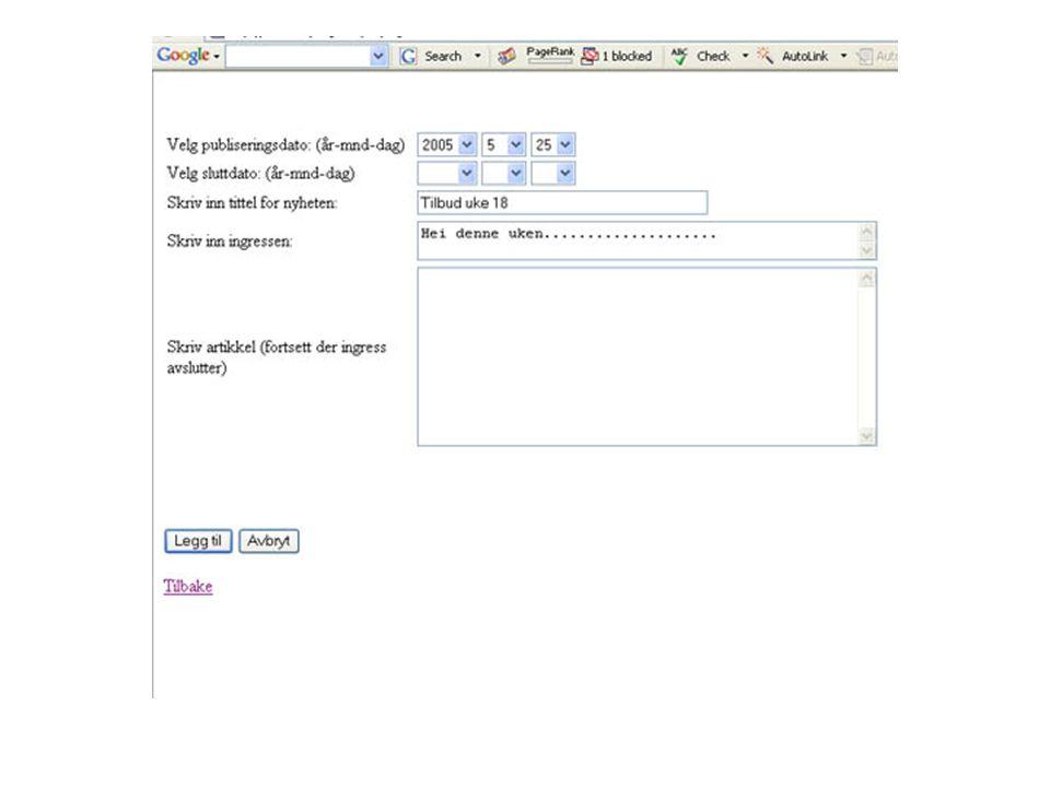 Hva gjenstår Opprettelse av brukerdatabase.