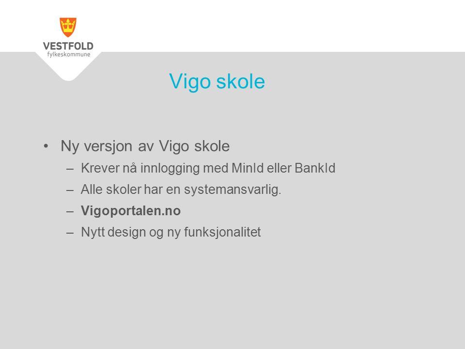 Ny versjon av Vigo skole –Krever nå innlogging med MinId eller BankId –Alle skoler har en systemansvarlig. –Vigoportalen.no –Nytt design og ny funksjo