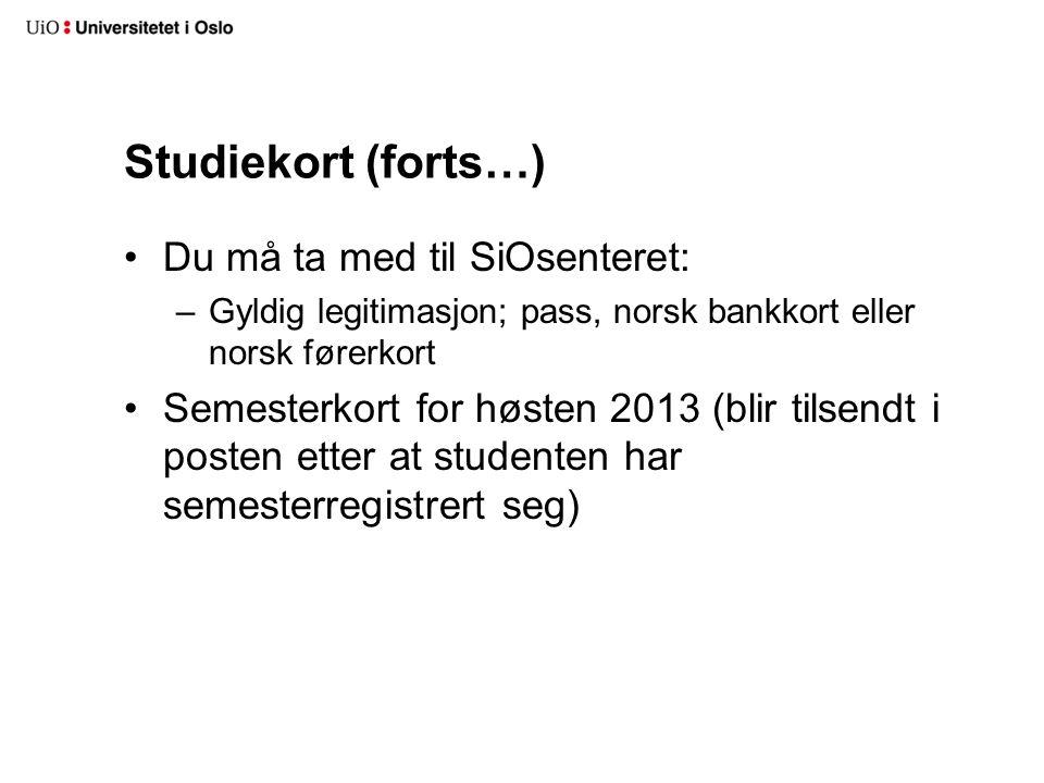 Hva skjer ved studiestart høsten 2013.12. august - Velkomstdag 12.-16.